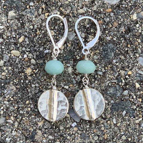 Amazonite and hammered silver link earrings