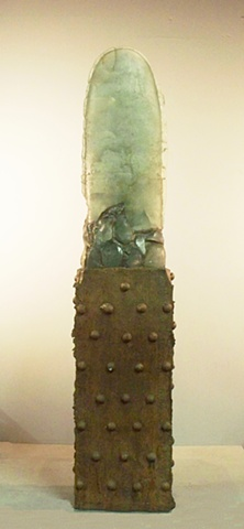 "A glass and cast iron sculpture that is one of the ""Sky"" series"