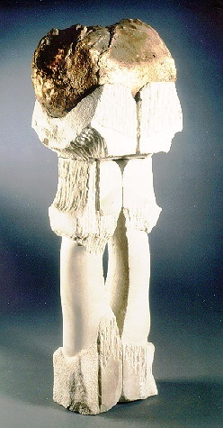 A Limestone and Bronze sculprure based on Wagner's Opera Tristan and Isolde