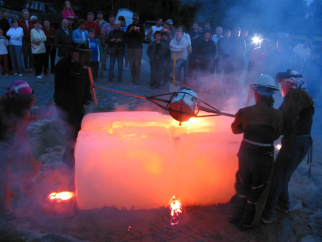 Northern Lights in Molten Iron and Ice