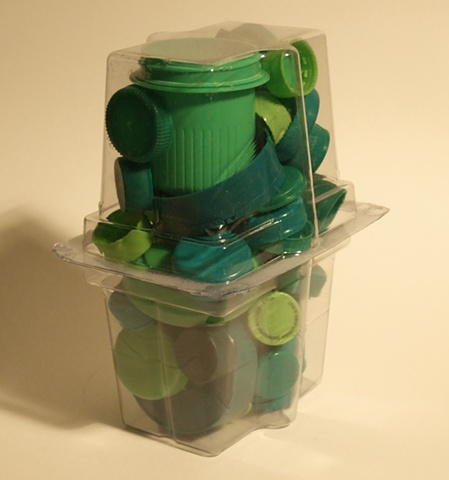 green plastic container caps