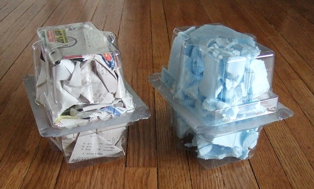 paper and blue styrofoam