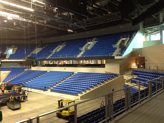 College Part Center University of Texas at Arlington  Arena interior with glass installation