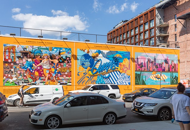 Veuve Clicquot champagne collaborated with five NYC-based female artists to share their joy for each of the city's boroughs.