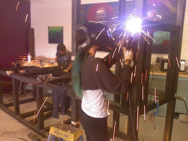 Christina welding on Navajo parts