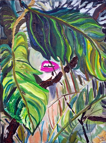 woman in jungle, contemporary figure painting, figure painting