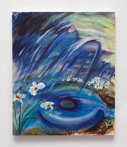 contemporary painting, landscape painting, daffodils, mel cook
