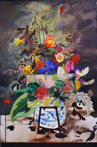 contemporary still life with flowers, contemporary still life painting, contemporary painting