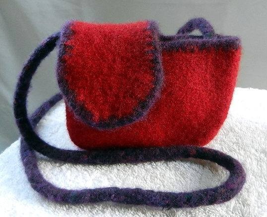 Red with purple wool mini purse.