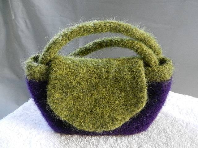 Purple and olive green wool mini purse.