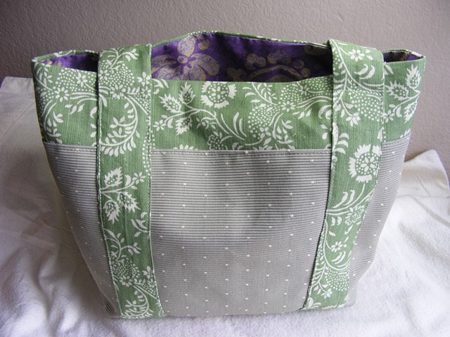 tote bag, lined tote bag, spring floral trim, handsewn tote, spring green, purple lining, polka dots
