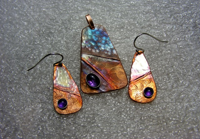copper pendant and earrings set, fold-formed, hand forged and textured, amethysts