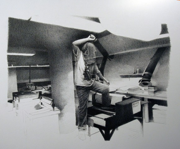 graphite, drawing, kimmel nelson harding art center, sean lyman, missouri state, art, low brow, landscape, black and gray, tonal, interior,