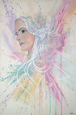 portrait art sacramento artist douglas keliiheleua kleinsmith angelic white colorful splatter rainbow yellow blue red