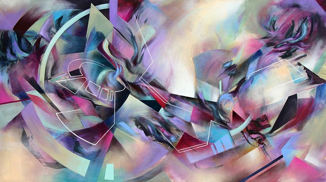 Something for your M.I.N.D. abstract art douglas kleinsmith geometric futuristic transhuman painting canvas psychedelic colorful beautiful cool colorful sacramento artist auburn graffiti enchanted forest still dream lucidity lightning in a bottle symbiosi