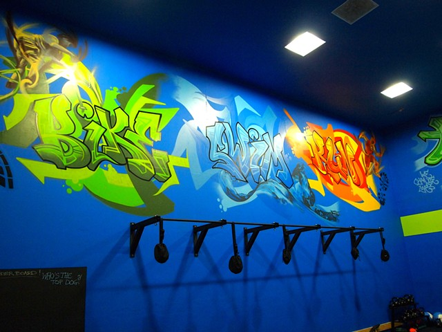 graffiti, run, bike, swim, douglas kleinsmith, gym, mural