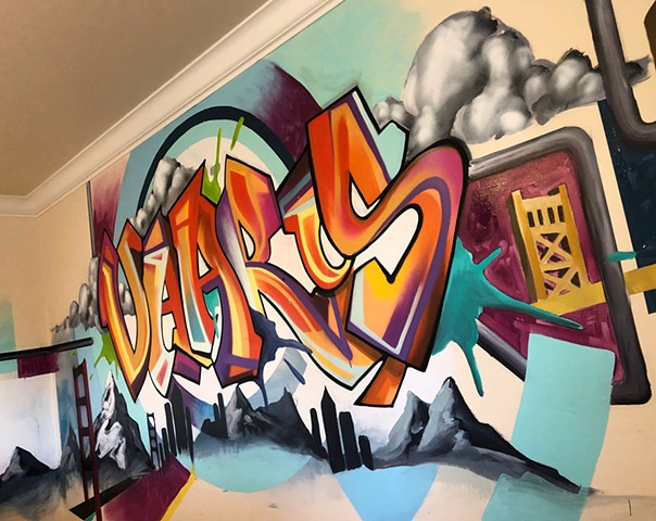 bedroom graffiti mural art douglas Kleinsmith Keliiheleua artist abstract Sacramento commission