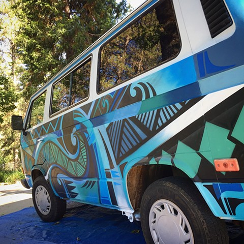 custom vanogan mural douglas keliiheleua kleinsmith van graffiti mural art colorful tribal blue ocean grass valley auburn sacramento