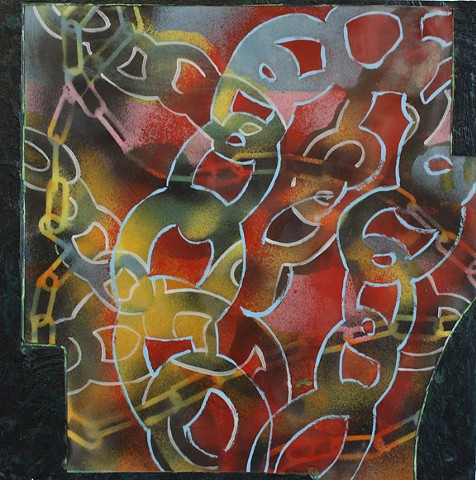 Contemporary Art / Painting / Spray Enamel, Oil and Encaustic