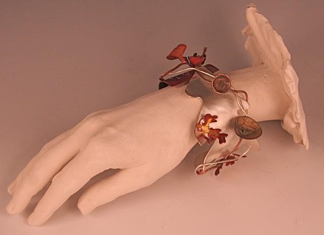 Right Hand: Giving   (flowers: bindweed, clarkia, oak leaf, coriander)