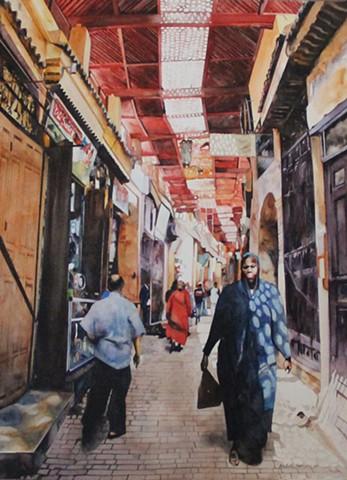 Fez Alleyway Watercolour