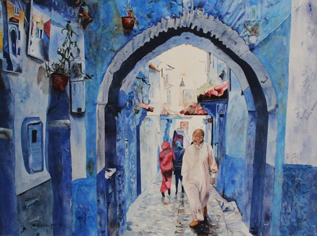 After the Rain at Chefchaouen Watercolor
