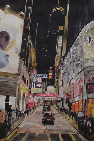 Up the Hill of Lan Kwai Fong Watercolor