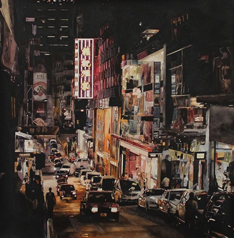 Lights of Wellington Street Watercolor