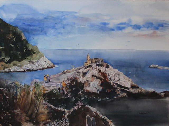 Evening At Portovenere Watercolor
