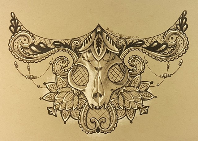 Cat Skull and Lace