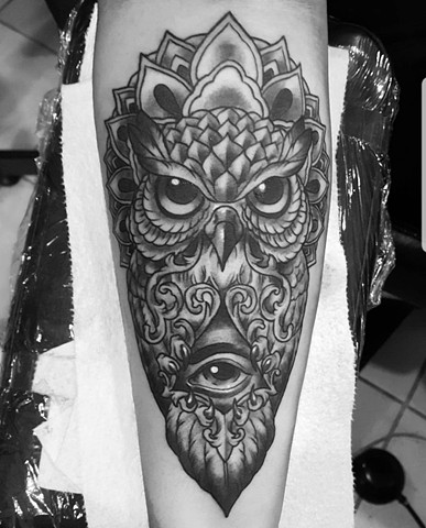 All seeing eye and owl tattoo
