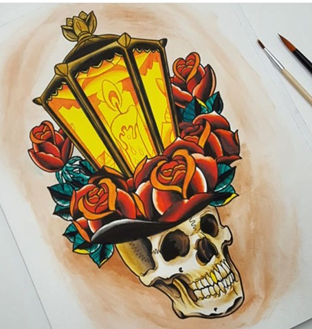 Skull Lantern Tattoo Design
