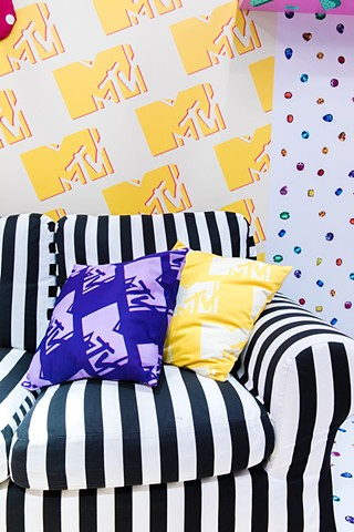Striped couch for MTV at VidCon