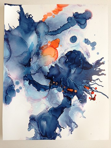 Smoky blues and orange in gestural movement.