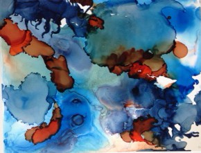 Blue, orange, contemporary art, abstract art.