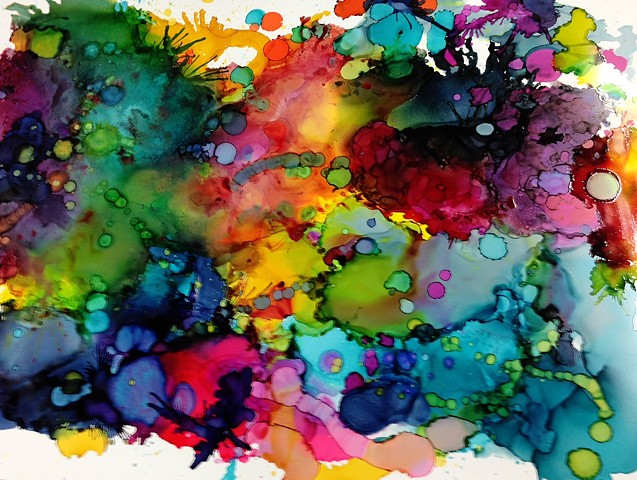 Water, ink, watercolor, contemporary art, abstract art, tropical art.