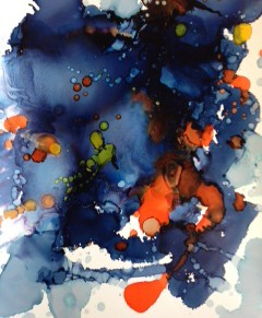 Blue, orange, contemporary art, abstract art, ink, watercolor.
