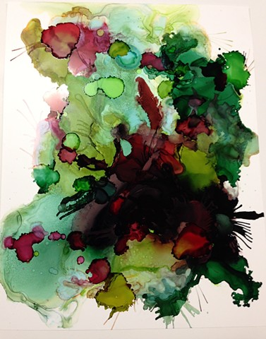 Green, red, contemporary art, abstract art, ink, watercolor.