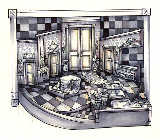 Scenic Design for A Flea in Her Ear, Nonrealized