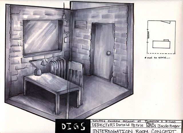 Digs, Concept Sketch of Interrogation Room