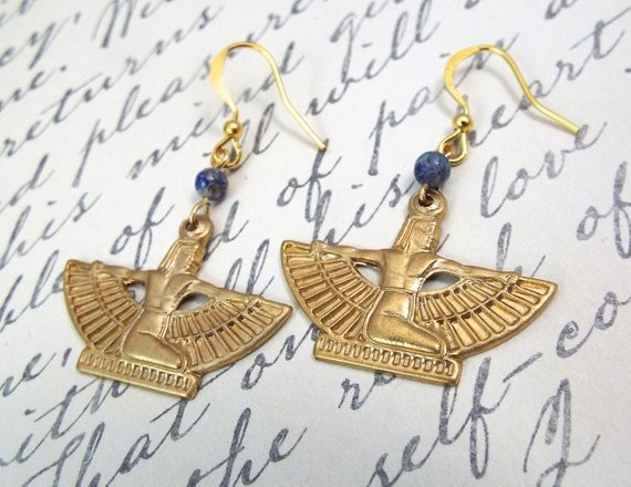 lapis Egyptian earrings