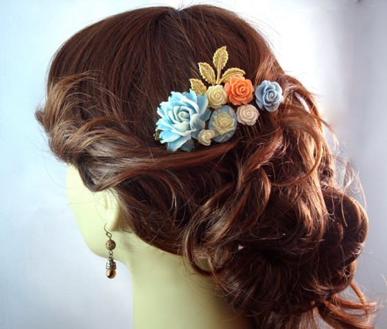 Baby Breath Blue Peach Peony Hair Comb Vintage Hair Accessory Bridal