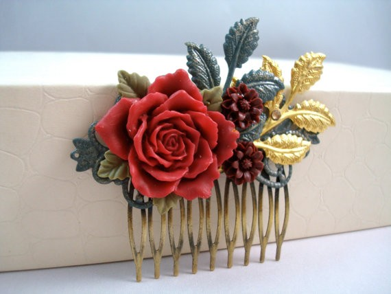 Rose Red Berry Enameled Leaves Hair Comb Vintage Hair Accessory Bridal