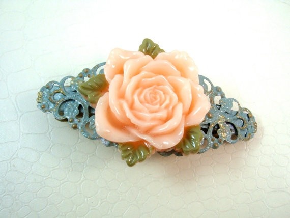 Pink Rose Flower Filigree Barrette Hair Clip Mint Hand Enamel Filigree