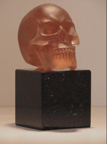 cast glass  casting lost wax human skull rhubarb granite base
