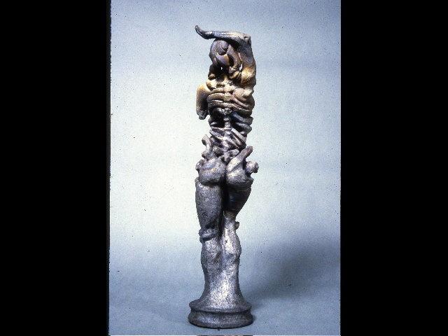 raku fired ceramic clay sculpture female figure osteal bone bonelike