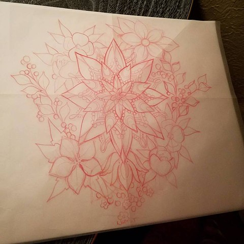 flowers and mandala sketch