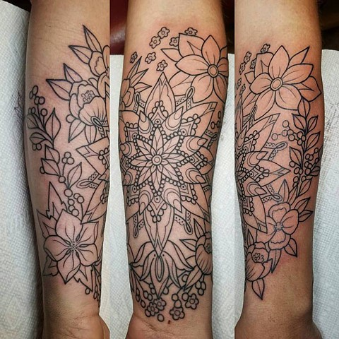 flowers and mandala