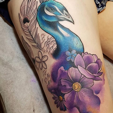start of peacock and flower thigh piece