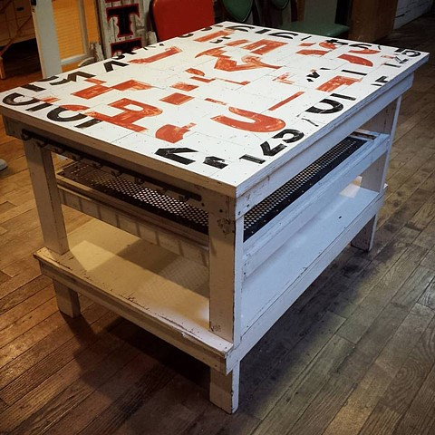 vintage sign puzzle top table/kitchen island